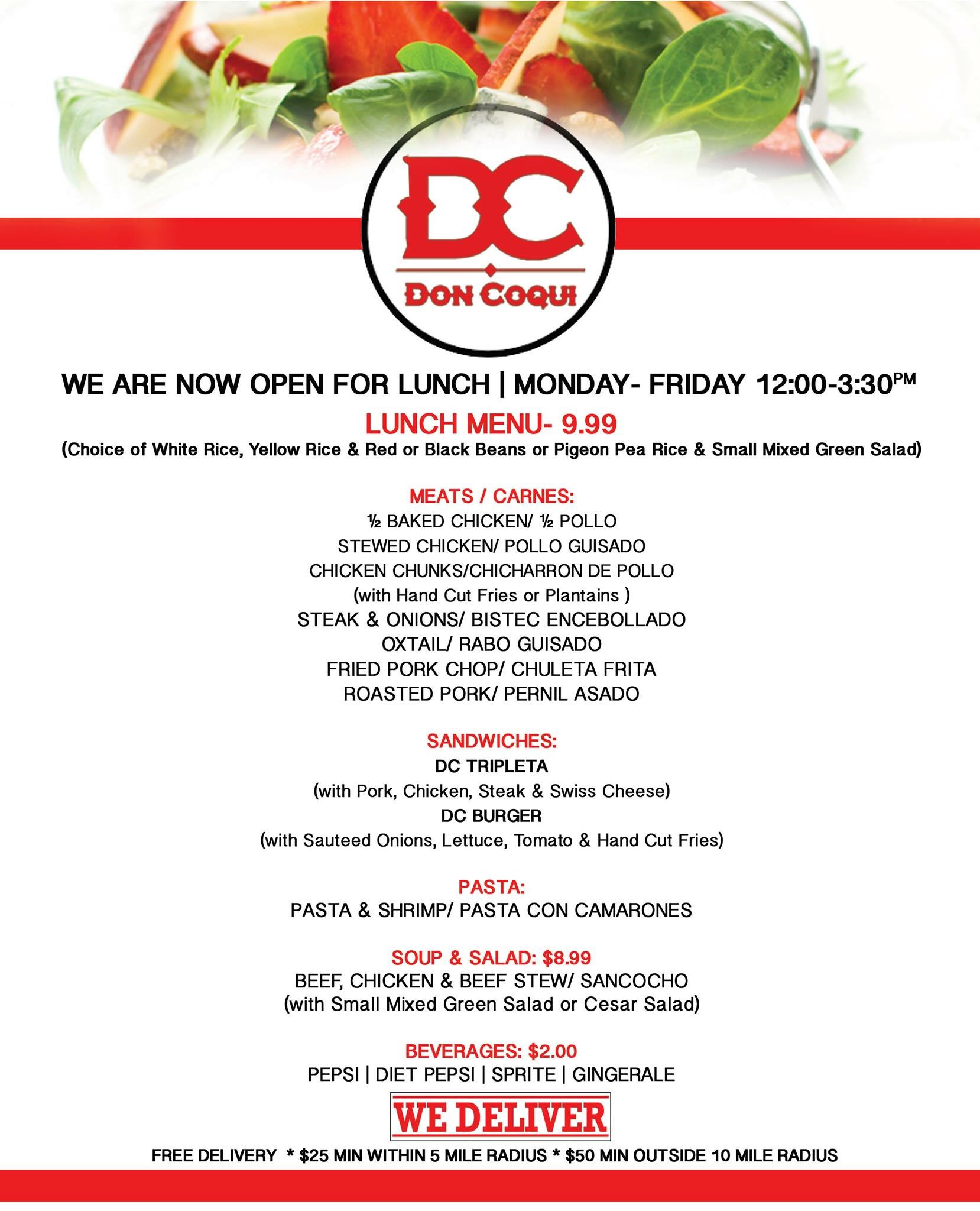Don Coqui Restaurant Lounge - Family table north port menu